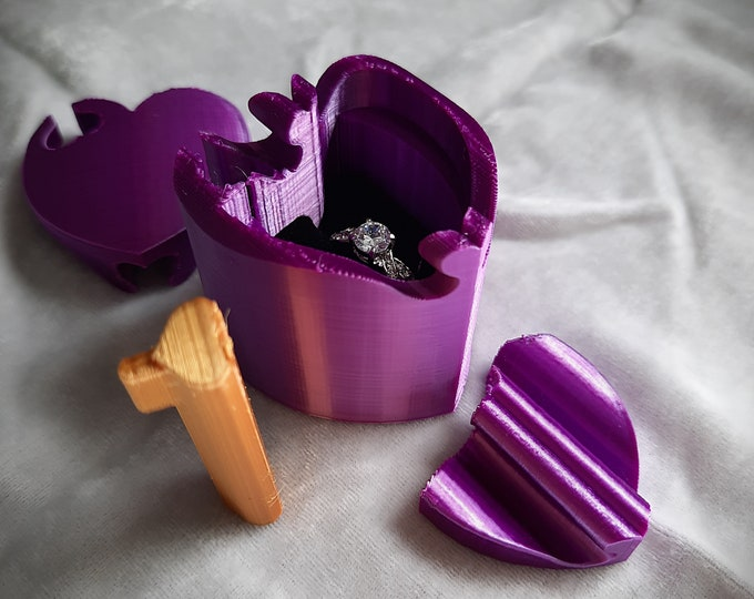 Purple Heart 3D Printed Silk Sheen Puzzle Ring Box,  Proposal Ring Box