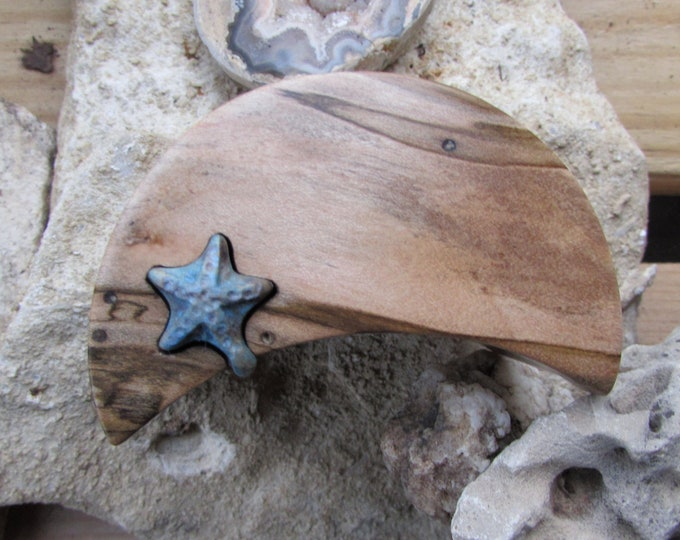 Engagement Ring Box, Beach Style Moon and Starfish ring puzzle box made from a solid piece of Ambrosia Maple.