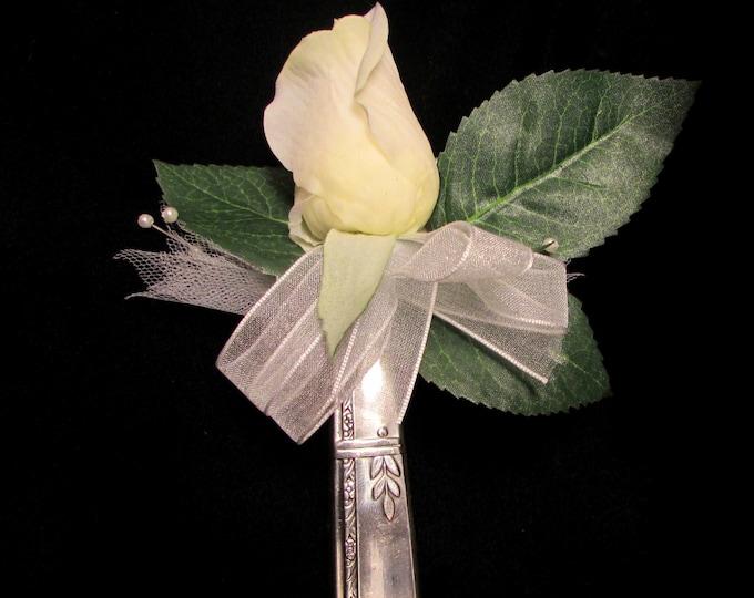 Lapel vase. Lapel pin created from a vintage 1938 'Grenoble' pattern silver plate knife handle. Vintage Wedding boutieneer vase.