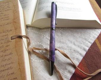 Ambrosia Maple wood turned pen, Deep purple stained. refillable twist pen.