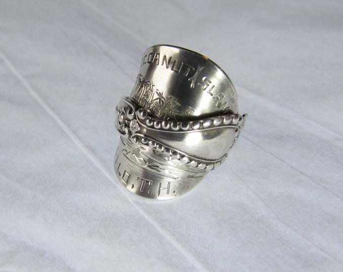 1892-1940 Cocoanut Island Hilo T.H. Sterling silver spoon ring.