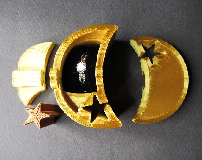Ring Box, Gold Moon and Star engagement ring puzzle box. 3D printed puzzle ring box.