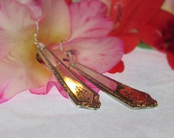 Spoon Earrings.Art  Deco Style, Sterling ear wires.