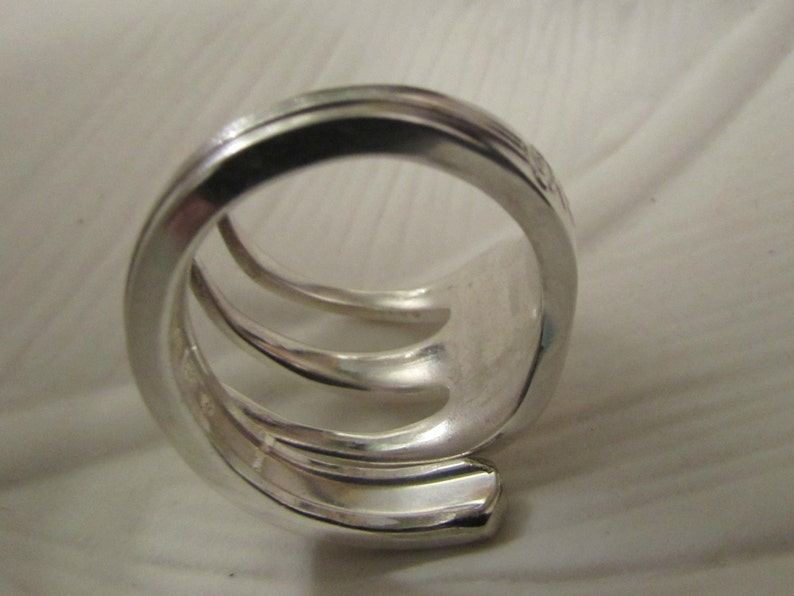 Ring made from a vintage silver fork. Three tine Fork ring Fork ring