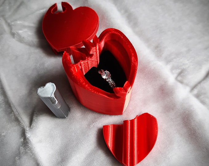 Red Heart 3D Printed Silk Sheen Puzzle Ring Box, Engagement Ring Box