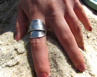 Sterling spoon ring. Spoon ring . souvenir spoon  from 'Rockland'.
