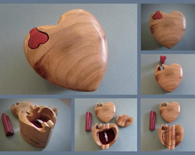 Engagement Ring Box, Heart shaped puzzle ring box.