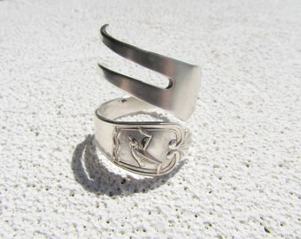 Fork ring. Spiral wrap Seagull fork ring. Made from antique silverplated condiment fork.