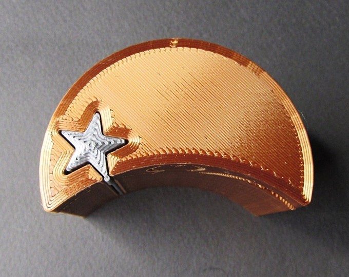 Ring Box, Copper Moon and Silver Star engagement ring puzzle box. 3D printed puzzle ring box.