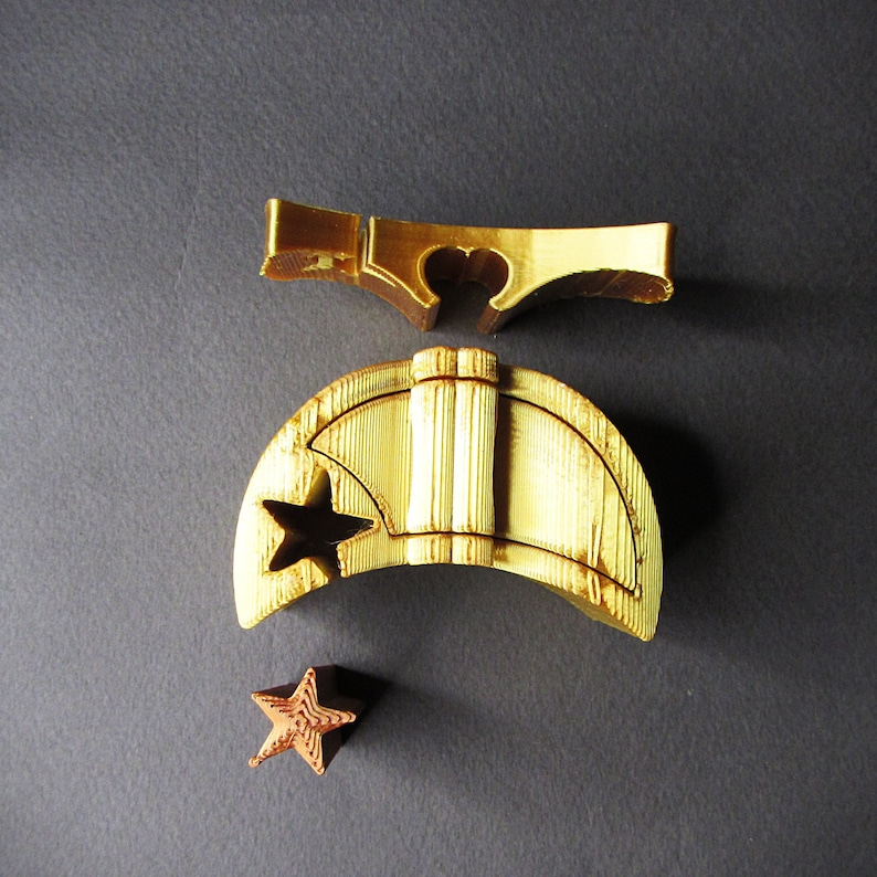Ring Box Gold Moon and Star engagement ring puzzle box 3D printed puzzle ring box.