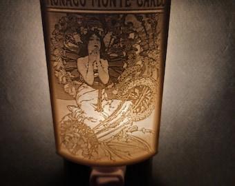 Lithophane Night Light, Alphonse Mucha 'Monaco-Monte-Carlo' Art Nouveau series
