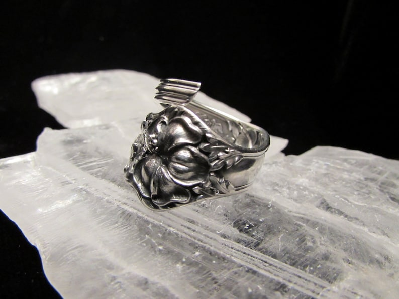 Hybiscus spoon ring.Sterling Silver Spoon Ring.Band or Spiral wrap style Choose size.