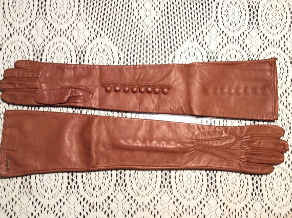 Women's long leather gloves Dsquared cognac