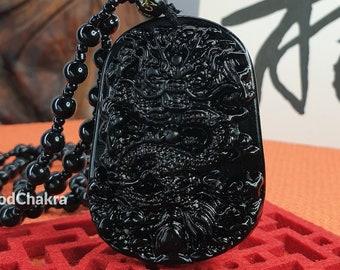 Personalized Calligraphy Gift - Luck Dragon Black Obsidian Glass Pendant Necklace Bracelet Buddhist Beads Jewelry Power Amulet Talisman UK