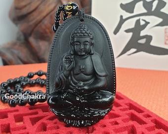 Personalized Calligraphy Gift - Bliss Buddha Black Obsidian Glass Pendant Necklace Bracelet Buddhist Beads Jewelry Power Amulet Talisman UK