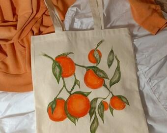 Eco-Friendly Tote Bag - Orange Vine Hand Painted