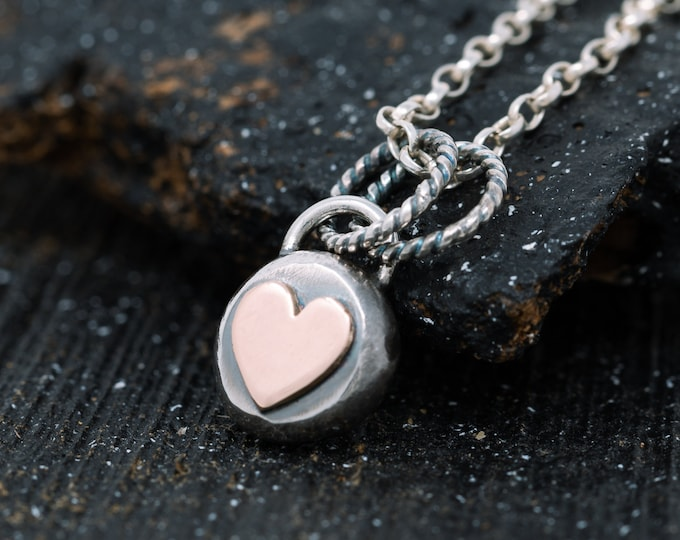 Sterling Silver and 9ct Rose Gold Heart Necklace Heart Necklace Love Heart Necklace Mixed Metal Necklace Rustic Heart Necklace Gift for Her