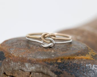 9ct Gold&Sterling Silver Double Knots Ring|Silver n Gold 2 Knots Ring|Mixed Metal Knot Ring|Wedding Ring|Promise Ring|Gift for Her