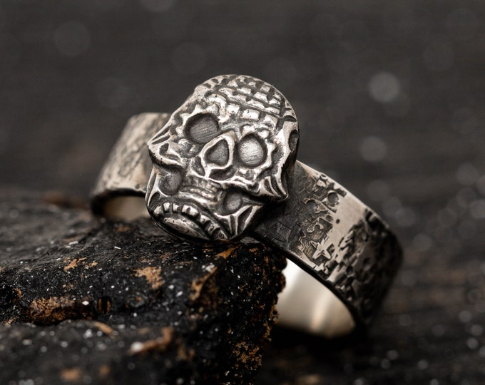 Sterling Silver Skull Ring, Sugar Skull Ring, Gothic Scheme Ring, Handmade Mens Ring Band, Biker Ring, Halloween Jewellery, Gift for Him