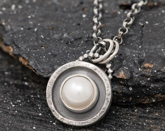 Sterling Silver and Freshwater Pearl Pendant Necklace|Pearl Necklace|June Birthstone|Silver and Pearl Necklace|Gift for Mother|Gift for Her