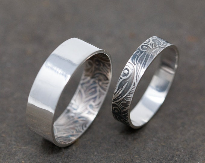 Sterling Silver Wedding Rings, Wedding Band Set, Couple Promise Ring Set, Matching Couples Rings, Floral Rings, Silver Floral Ring Set