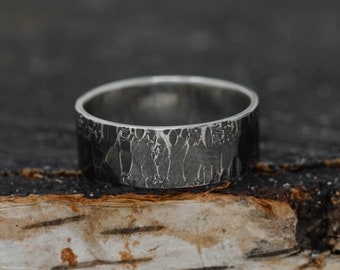 8MM Wide Sterling Silver Rustic Ring, Men's Wedding Band, Unisex Ring, Handmade Embossed Ring, Hammered Ring, Textured Ring, Gift for Her