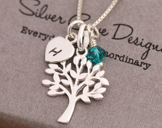 Sterling Silver Tree of Life Necklace, Silver Tree Necklace, Tree Silhouette Necklace, Birthstone Necklace, Initial Necklace, Gift for Her