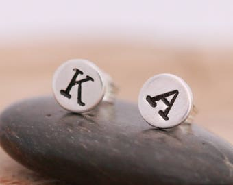 Sterling Silver Initial Stud Earrings|Letter Stud Earrings|Silver Letter Earrings|Initial Earrings|Silver Initial Earrings|Unisex Earrings