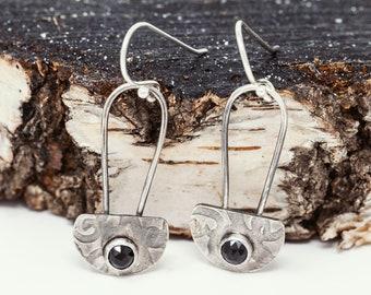 Sterling Silver and Black Spinel Dangle Earrings|Sterling Silver Lantern Earrings|OOAK Earrings|Handmade Earrings|Gift for Her