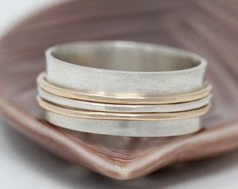 9ct Gold&Sterling Silver Spinner Ring 3 Fidget Spinner Ring Mixed Metal Spinner Ring Worry Ring Anxiety Ring Meditation Ring Gift for Her