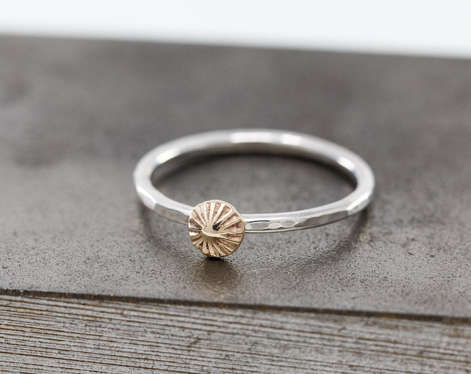 Solid 9ct Yellow Gold&Sterling Silver Starfish Ring|Starfish Ring|Sea Urchin Ring|Silver n Gold Ring|Mixed Metal Ring|Gift for Her