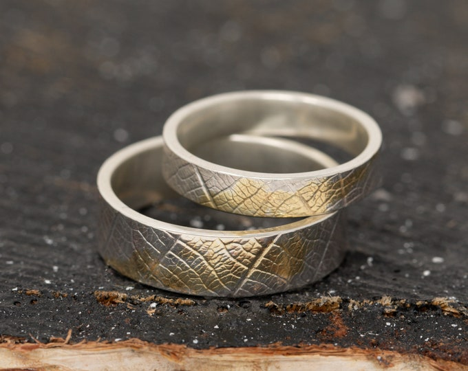 Sterling Silver and Gold Leaf Rings, 24K Keum Boo Leaf Patterned Wedding Band Set, Couples Rings, Matching Engagement Rings