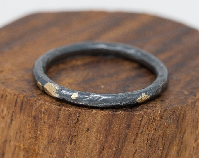 24K Gold&Sterling Silver Rustic Ring Wide|Mens Rustic Band|Organic Wedding Ring|Unisex Ring|Rustic Wedding Ring|Gift for Him|Gift for Her