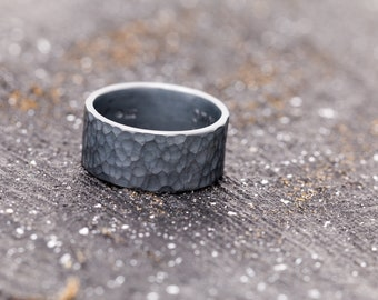 Solid Sterling Silver Mens Ring, Handmade Riveted Ring, Hammered Textured Ring, Gift for Him, Black Ring Band