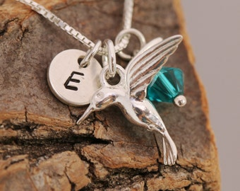 Sterling Silver Necklace, Hummingbird Necklace, Initial Necklace, Birthstone Necklace, Silver Bird Necklace, Gift for Her, Personalised