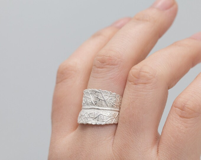Sterling Silver Swirled Leaf Ring|Adjustable Ring|Sterling Silver Leaf Ring|Open Ended Ring|Silver Leaf Ring|Chunky Ring|Gift for Her