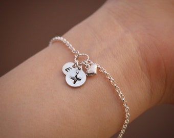 Sterling Silver Compass Bracelet, Silver Compass Bracelet, Compass Bracelet, Initial Bracelet, Personalised, Silver Initial Compass Bracelet