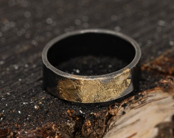 6MM Sterling Silver&24K Gold Keum Boo Rustic Ring|Mens Rustic Band|Organic Wedding Ring|Unisex Ring|Rustic Ring|Gift for Him|Gift for Her