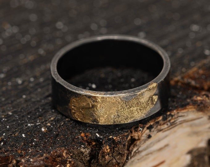 6MM Sterling Silver & 24K Gold Keum Boo Rustic Ring, Mens Rustic Band , Unique Wedding Ring, Promise Ring, Gift for Him, Gift for Her