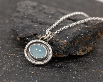 Sterling Silver and Aquamarine Pendant Necklace|Aquamarine Necklace|March Birthstone Necklace|March Birthstone|Gift for Mother|Gift for Her