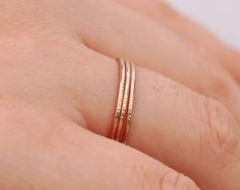 14K Gold Filled Rings|3 Gold Filled Rings|Gold Tree Bark Rings|Gold Rings|Minimalist Rings|Gold Minimalist Rings|Gold Stacking Rings