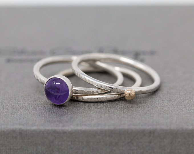 Sterling Silver 9ct Gold&Amethyst Ring Set|Amethyst Gem Ring Set|Birthstone Ring Set|Mixed Metal Ring Set|Gift for Her|Gift for Mother