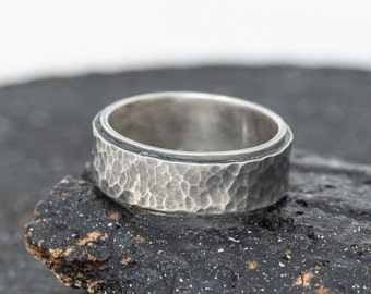 Textured Mens Sterling Silver Ring|Sterling Silver Ring|Rustic Ring|Unisex Ring|Rustic Silver Ring|Thumb Ring|Gift for Her|Gift for Him