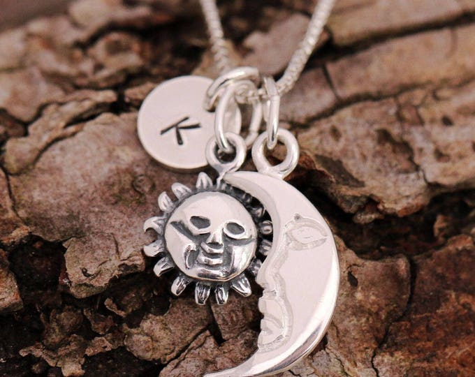 Sterling Silver Sun and Moon Necklace|Silver Sun and Moon Necklace|Sun and Moon Necklace|Personalised|Initial Necklace|Gift for Her