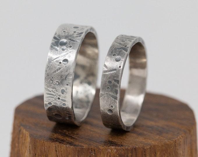 Sterling Silver Wedding Ring Set|Celestial Ring Set for 2|Rustic Wedding Ring Set|Handmade Wedding Bands|Organic Rings|Wedding Ring Set