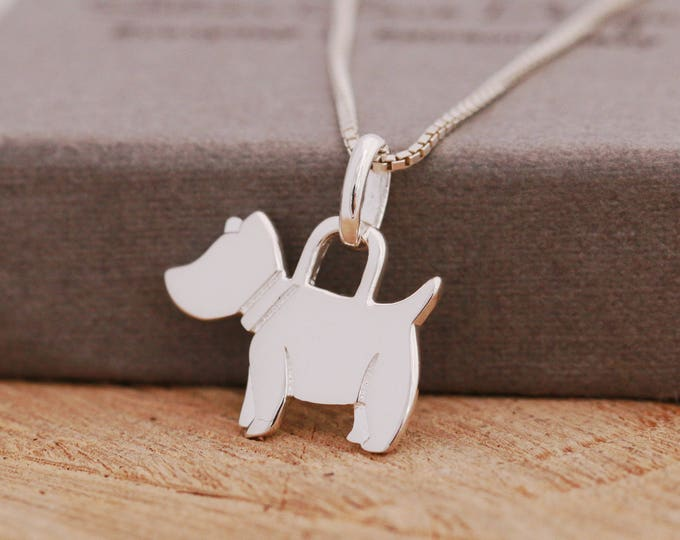 Sterling Silver Dog Necklace, Silver Dog Necklace, Scottie Dog Necklace, Gift for Her, Gift for Dog Owners
