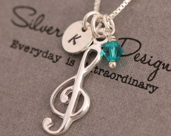 Sterling Silver Treble Clef Necklace, Music Note Necklace, Musicians Necklace, Pianist Necklace, Personalised, Initial Necklace|Gift for Her