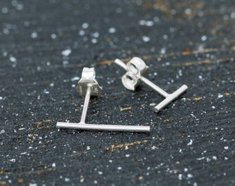 Pair of Uneven Sterling Silver Bar Stud Earrings, Unisex, Sterling Silver Staple Earrings, Sterling Silver Stick Studs, Minimalist Earrings