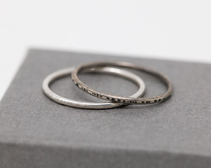 One Sterling Silver Tree Bark Textured Ring Polished or Oxidised Minimalist Ring Silver Minimalist Ring Textured Ring Hammered Silver Ring
