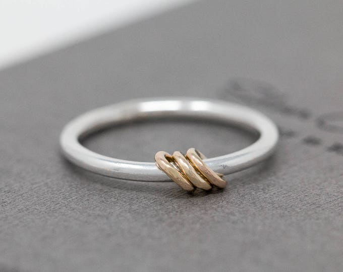 Sterling Silver Spinner Ring with Solid 9ct Yellow Gold Fidgets|Mixed Metal Spinner Ring|Minimalist Spinner Ring|Meditation Ring|Worry Ring